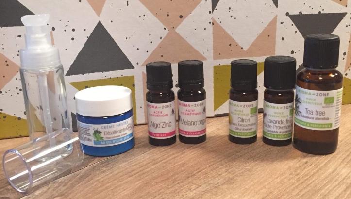 Ingrédients pour réaliser un soin naturel contre l'acné